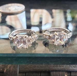 Sterling Silver Diamonique Hoop Earrings